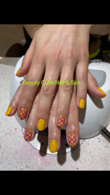 red and orange nails, trendy colored nails near me, beauty services
